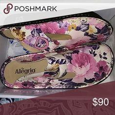 Beautiful & Comfortable Flower Pattern Nurse's Sho Spring Fling in colour PG lite Alegria  Shoes Mules & Clogs