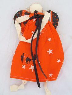 Halloween Guardian Angel Fabric Doll Pumpkin Harvest Autumn Fall Home Decor #Halloween