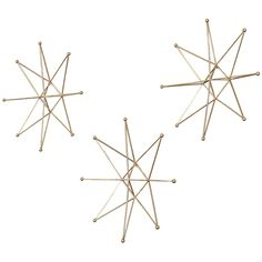 Uttermost Gold Stars Bright Gold Leaf Wall Decor Set of 3
