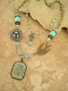 Bohemian Necklace Boho Chic Assemblage Necklace by BohoStyleMe