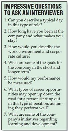 Good Questions for Interviews