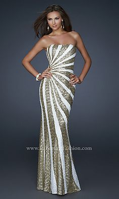 Strapless Sequin Gown by La Femme LF-17456 at PromGirl.com
