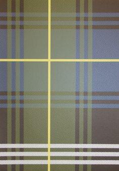 Edward Tartan Wallpaper Tartan wallpaper in blue and green with a box check of yellow