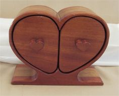 (Bandsaw Box) Heart Shaped jewelry and keepsake box with two hidden drawers made from mahogany and Alder. $75.00