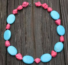 TURQUOISE Necklace stone blue silver pink pastel by Blitzrider, $35.99 TURQUOISE Necklace stone blue silver pink pastel metal boho teal birthday for her big large beaded chunky stone oval strand neon