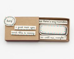 "Cute Romantic Anniversary Love Card Matchbox / Gift box / Message box ""Call me maybe"""