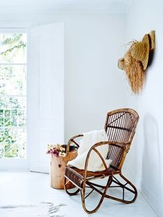 Renovation: a spacious Sydney home gets an exotic Mediterranean makeover: In a corner of the main bedroom, wicker chair from Mamapapa; oak stool from Mark Tuckey.