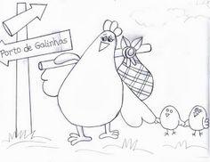 risco galinha e pintinhos