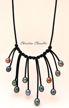 Pearl et Pearl Necklace - Multi goutte 2 - cuir et Collection de bijoux en cuir