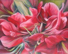 ❀ Blooming Brushwork ❀ - garden and still life flower paintings - Rebecca van den Heuvel | Amaryllis II