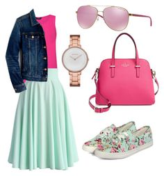 """Hot,pink/minty?"" by charmingjewels ❤ liked on Polyvore featuring yeswalker, Chicwish, J.Crew, Kate Spade, Michael Kors and Skagen"