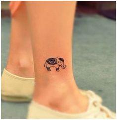 Cute Small Elephant Tattoo Designs On Foot