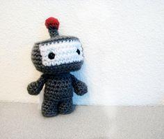 Robot amigurumi crochet toy that rattles (6 inch) Red Light Robot. $24.00, via Etsy.