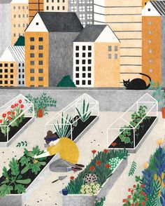 In the newest @flow_magazine you can find this rooftop garden illustration in poster size! #liekeland