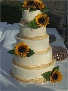White Sunflower Wedding Cake