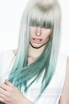 Z.ONE CONCEPT Lange Weiß weiblich Gerade Farbige Grün-Farbton Frauen Poker-gerade Frisuren hairstyles