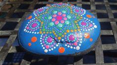 hand painted meditation mandala stone gratitude by RockYourWorld7