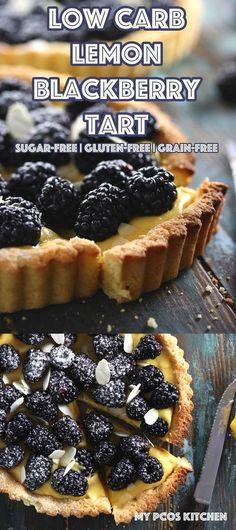 Low Carb Lemon Blackberry Tart - My PCOS Kitchen - This amazing Low Carb Lemon Blackberry Tart is completely sugar-free and gluten-free! #glutenfree #sugarfree #lowcarb #keto #tart #lemoncurd #recipe #baking #dessert via @mypcoskitchen
