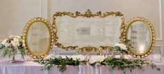 XXL Mirror Trio for larger wedding seating charts. Wow factor. www.southerncharmvintagerentals.com