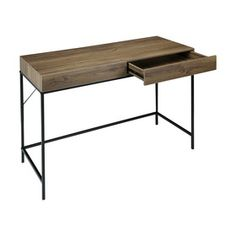Add a modern look to your living space with this two drawer industrial desk - perfect for arranging and storing office essentials. Home Office Furniture, Furniture Decor, Living Room Furniture, Kmart Desk, Office Computer Desk, Office Desks, Office Chairs, Industrial Desk, Desk With Drawers