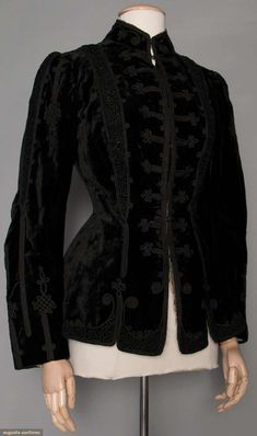 Lady's Black Velvet Jacket, C. 1890. For upcoming vintage and antique fashion and textile auction.