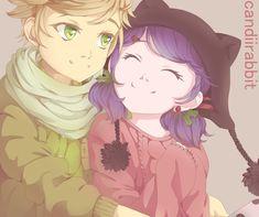 cute Adrin and Marinette (by UsagiYogurt, Miraculous Ladybug, adrinette, kid, little)