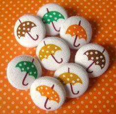Umbrella-print fabric buttons