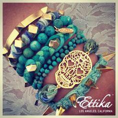 Tribal Turquoise Rocker Stacked bracelets    That Skull Bracelet tho!