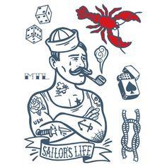 Tatouages temporaires- l'homme de la mer