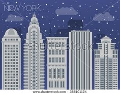 Snow-covered city before holidays in Seattle city. Colorful flat style panorama buildings of metropolis. Big city for background of games. Vector flat illustration snow falling in street of America