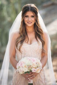She is so pretty! The blushing bride about to walk down the aisle. #bride
