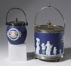 Mouse over image to zoom                                                                                                                                                                                                                                                                                                                                               Have one to sell? Sell it yourself         Blue Jasperware Wedgwood Biscuit Barrel/Cookie Jar 1891-98