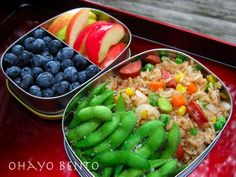 Vegan Bento Lunch: Vegan Fried Brown Rice with Veggie Sausage, snap peas. Apples and Blueberries.