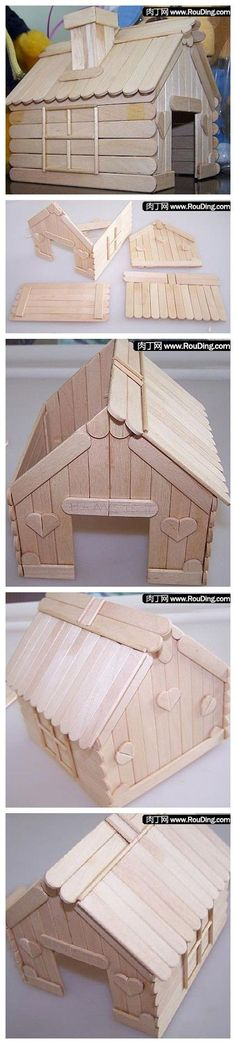 Bird houses popsicle sticks projects Ideas for 2019 Popsicle Stick Houses, Popsicle Stick Crafts, Craft Stick Crafts, Wood Crafts, Diy And Crafts, Craft Sticks, Diy For Kids, Crafts For Kids, Stick Art