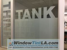 Transform your conference room with Frosted Glass Film. For the conference room of Think Tank in Los Angeles, WindowTintLA.com created a custom frost incorporating the Logo