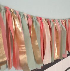 """Multicolored Springtime Hand dyed Fabric """"rag"""" garland in mint seafoam green, coral peach, pink blush and gold - Wedding & Party decor Color palette for the bedroom Baby Shower Backdrop, Baby Shower Themes, Shower Ideas, Coral And Gold, Blush And Gold, Rag Garland, Fabric Garland, Ribbon Garland, Tissue Garland"""