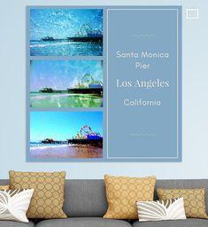 Blaue Collage Santa Monica Pier in Los Angeles, Kalifornien. Santa Monica, Travel Souvenirs, Poster, Collage, Pictures, California, Hanging Wallpaper, Canvas Frame, Photo Wallpaper