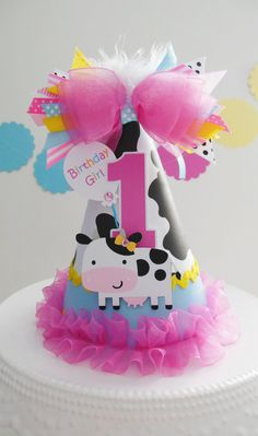 Lil' Cow Barnyard Cutie - Blue, Pink and Yellow Birthday Party Hat - Personalized - Farm Party, Cowgirl Party