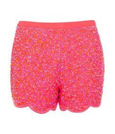 Miss Selfridge Coral embellished short, Pink