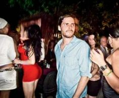 Speaking of partying at Bar Raval - check out the chick in red...if she so much as LOOKED at him if I was there, she would have so much Felicitas in her face, it wouldn't be funny...