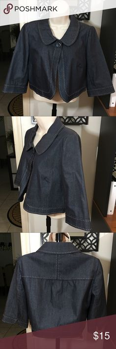 Ann Taylor LOFT Denim Swing Blazer Jacket Size 6   Denim like material 78% cotton 22% polyester Length is 19 inches Sleeve length is 15 1/4 inches Excellent like new condition LOFT Jackets & Coats Blazers