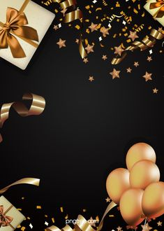 the background of gift box ribbon luxury black gold party Balloon Background, Black Background Wallpaper, Invitation Background, Party Background, Birthday Background, Gold Background, Happy Birthday Frame, Birthday Frames, Happy Birthday Greeting Card
