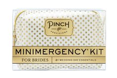 Minimergency Kit for Brides by Pinch Provisions - contains anything a future Mrs. might need...IN A PINCH. Available in 4 styles including elegant white & gold polka dot Minimergency Kit, Bachelorette Party Gifts, Bachelorette Time, Bon Voyage, Jet Set, Wedding Favors, Wedding Bands, Our Wedding, Wedding 2015