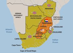 South African War - Maps - Map of Southern Africa showing the British Colonies and the Boer Republics Africa Map, East Africa, Historical Maps, Historical Pictures, Pretoria, Cape Colony, By Any Means Necessary, New York Life, A Day In Life