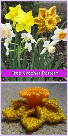 Crochet Daffodil Flower Free Patterns - Crochet One-Piece Daffodil Free Pattern