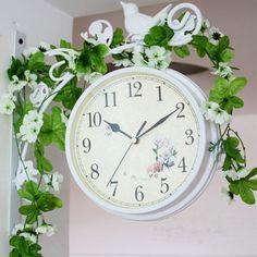 Barato Relógio de parede de ferro forjado parede de ferro dupla face  relógios vintage relógio relógio ee98e6ee0e