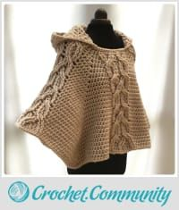 EDITOR'S CHOICE (05/25/2016) Milena Twist Cable Hooded Poncho by Ling Ryan View details here: http://crochet.community/creations/4573-milena-twist-cable-hooded-poncho