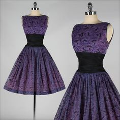 vintage 1950s dress . purple chiffon . glitter flocked dancers . 4093