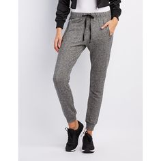 Charlotte Russe Zipper-Pocket Jogger Pants ($20) ❤ liked on Polyvore featuring pants, charcoal, tapered pants, skinny pants, jogger trousers, peg-leg pants and tapered leg pants