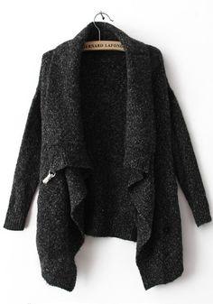 Black Lapel Cardigan Sweater